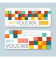 Gift voucher template with retro pattern vector image vector image