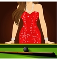 beautiful woman leaning on a pool table vector image