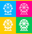 ferris wheel sign four styles of icon on four vector image