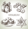 Hand drawn sketch Hanukkah elements set Israel vector image