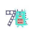 Dragon Standing Next To Number Seven Stylized vector image
