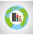 globe world man postal delivery box vector image