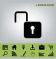 unlock sign   black icon at vector image