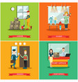 set of delivery posters in flat style vector image