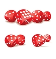 Red dices in action vector image
