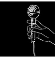 scetch of hand with microphone vector image vector image