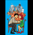 romantic couple holding hands city background vector image