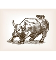 Bull statue hand drawn sketch style vector image