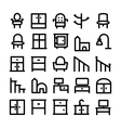 Buildings and Furniture Icons 15 vector image