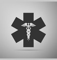 emergency star - medical symbol caduceus snake vector image