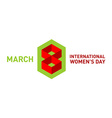 March 8 day card title logo vector image