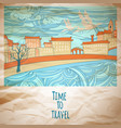 time to travel abstract drawing card vector image