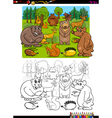 animals group coloring page vector image