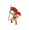 Viking Warrior Brandishing Red Flag Retro vector image