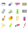 Painter tools icons set cartoon style vector image