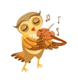 Owl Playing Violin Cute Cartoon Character Emoji vector image