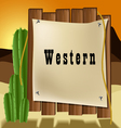 Western text frame vector image vector image