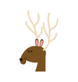 christmas face reindeer horns image vector image