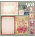 Set of vintage postcards for Valentines Day design vector image