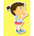 Sticker of a girl counting vector image vector image