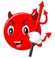 Red Halloween emoticon Devil with Trident in Carto vector image