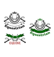 Equestrian sport emblems with whips and horseshoes vector image