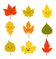 Collection of cute autumn leaves in kawaii style vector image