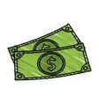 color crayon stripe set bills with currency dollar vector image