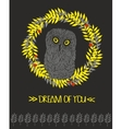 Cute owl in floral circle vector image