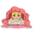 Little girl reading book in bed under blanket vector image