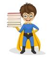 little superhero boy holding stack of books vector image