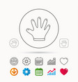 rubber gloves icon latex hand protection sign vector image