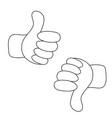 thumbs up and thumbs down - like and dislike vector image