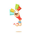 young happy woman in a casual clothes jumping with vector image