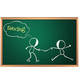 A blackboard with a drawing of two boys fencing vector image vector image