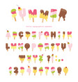 ice cream melted font popsicle colorful letters vector image