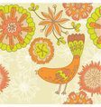 vintage floral bird background vector image vector image