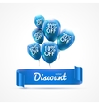 Flying colored blue balloons with ribbon and vector image