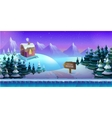 Cartoon winter landscape with ice snow and cloudy vector image