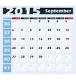 Calendar 2015 September design template vector image