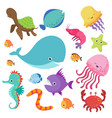 cartoon childrens aquarium and wild sea fishes vector image