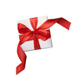 christmas mesh realism gift box with a red vector image