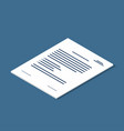 isometric document icon agreement contract symbol vector image