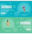 Swiming Website Template Set Horizontal banners vector image