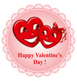 two happy lovers heart vector image