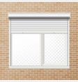 Rolling shutters brick wall white vector image