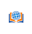 open book globe education school logo vector image