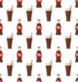 Seamless Pattern with Glass and Bottle with Dark vector image