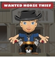 Cartoon character in Wild West - horse thief vector image