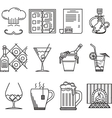 linear icons for restaurant vector image